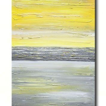 Shop Vertical Painting On Wanelo Regarding Yellow And Grey Abstract Wall Art (View 10 of 20)