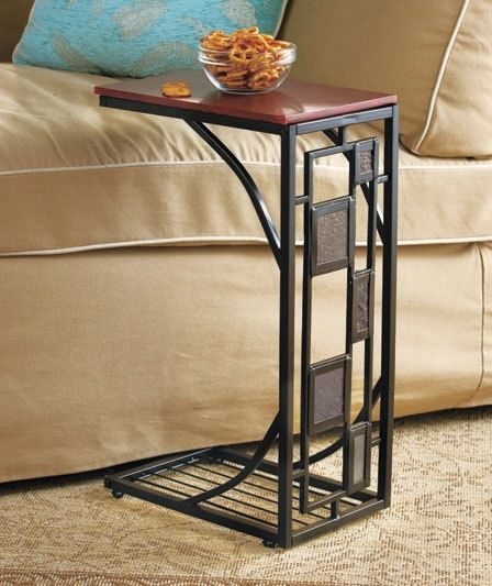 Side Sofa Table Slate Trimmed Tv Remote Snack Drink Holder Slides Within Sofas With Drink Tables (Image 4 of 10)