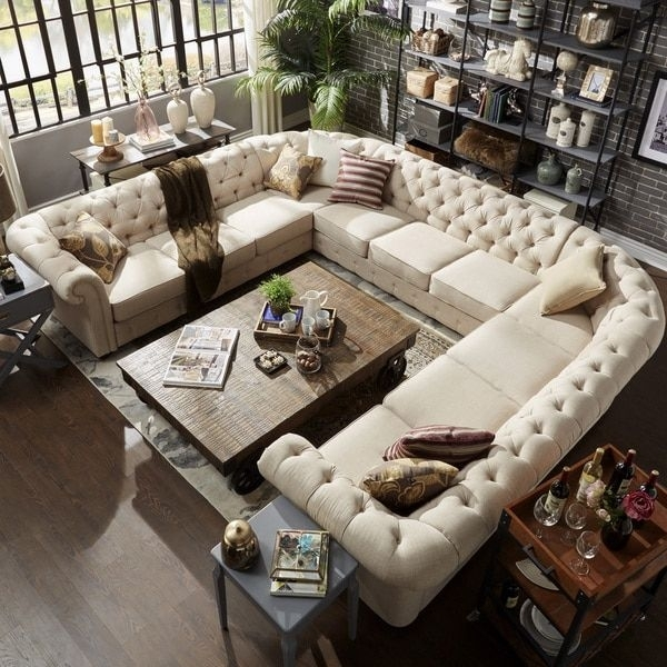 Signal Hills Knightsbridge Tufted Scroll Arm Chesterfield 11 Seat U For Overstock Sectional Sofas (View 10 of 10)