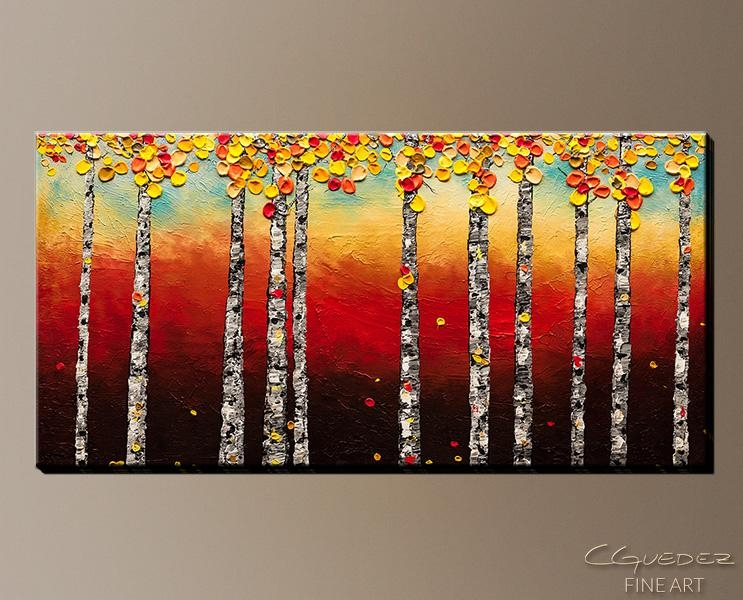 Signed Fine Art Canvas Prints And Posters Of Contemporary Abstract Regarding Birch Trees Canvas Wall Art (View 10 of 20)