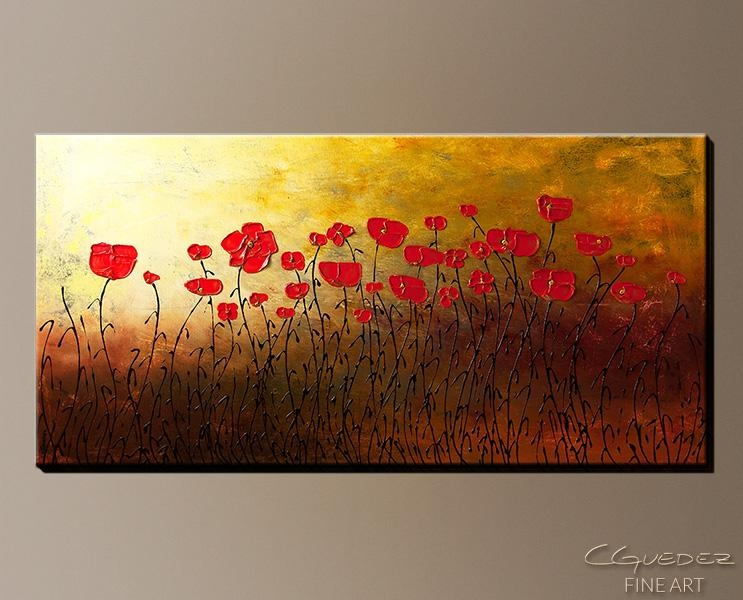 Signed Fine Art Canvas Prints And Posters Of Contemporary Abstract With Regard To Red Flowers Canvas Wall Art (Image 17 of 20)