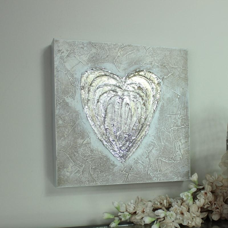 Silver Love Heart Canvas Wall Art – Melody Maison® In Hearts Canvas Wall Art (Image 17 of 20)