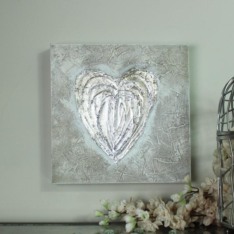 Silver Love Heart Canvas Wall Art Melody Maison With Regard To Regarding Glitter Canvas Wall Art (Image 16 of 20)