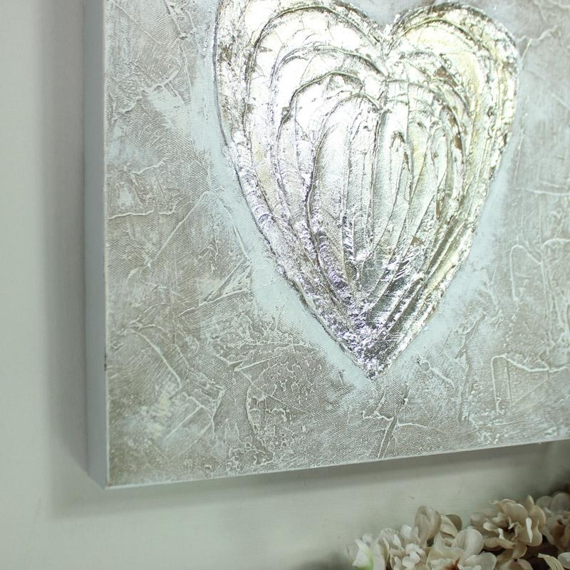 Silver Love Heart Canvas Wall Art – Melody Maison® Within Hearts Canvas Wall Art (Image 18 of 20)
