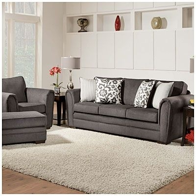 Simmons Flannel Charcoal Sofa With Pillows At Big Lots Love The Big Inside Big Lots Sofas (Image 8 of 10)