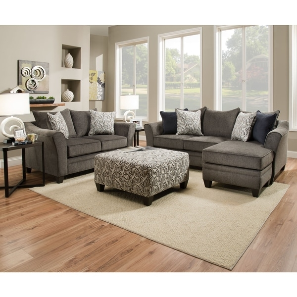 Simmons Upholstery Albany Pewter Sofa Chaise – Free Shipping Today In Simmons Chaise Sofas (Image 3 of 10)