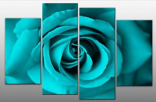 Single Face On Rose On 4 Panel Canvas Wall Art Print – Turquoise Inside Blue Canvas Wall Art (Image 17 of 20)