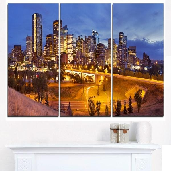 Skyline Of Calgary At Night Panorama – Modern Cityscape Canvas Regarding Calgary Canvas Wall Art (View 3 of 20)