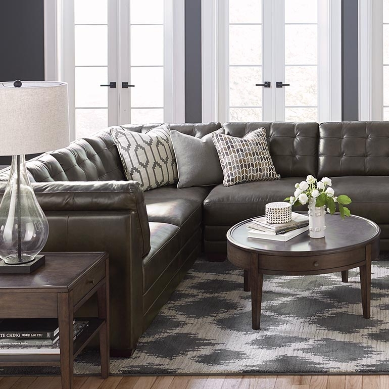 Slate Grey Leather U Shaped Sectional Pertaining To Gray U Shaped Sectionals (Image 7 of 10)