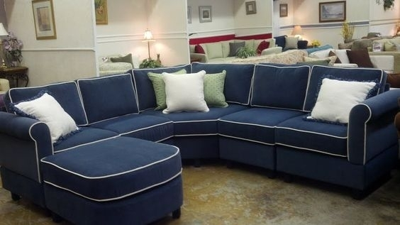 Small Scale Sectional 6 Piece Sectional With Wedge Corner In Kid With Blue Sectional Sofas (Image 8 of 10)