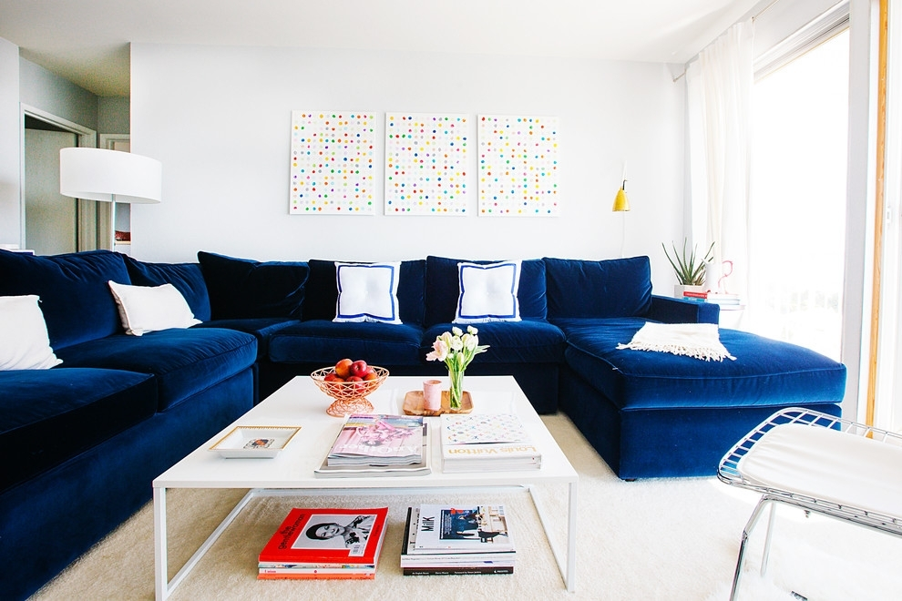 Small Sectional Sofa Living Room Transitional With My Houzz Blue In Houzz Sectional Sofas (Image 10 of 10)