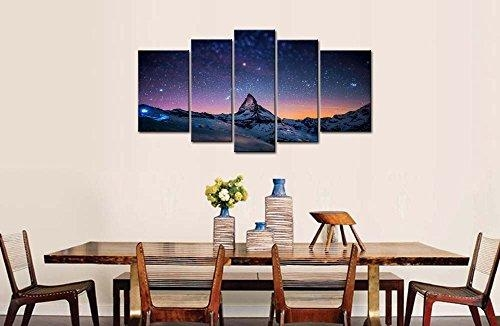 So Crazy Art® Fresh Look Color 5 Piece Wall Art Painting Starry Inside Mountains Canvas Wall Art (Image 18 of 20)