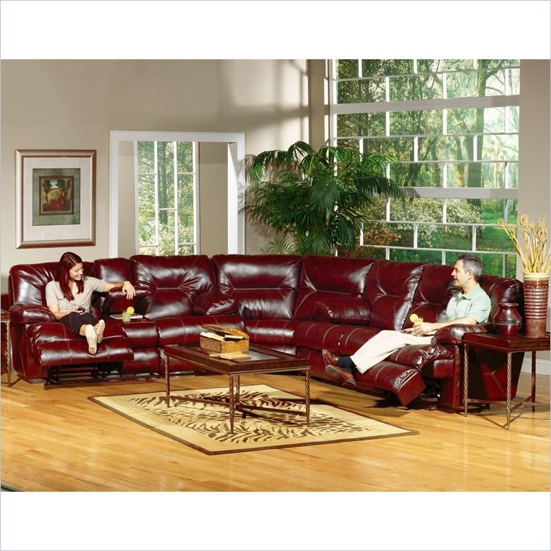 Sofa Beds Design: Fascinating Unique Red Sectional Sofa With In Red Leather Sectional Sofas With Recliners (Image 9 of 10)