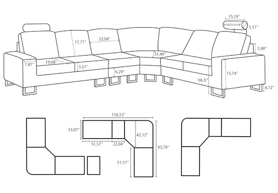 Sofa Beds Design: Wonderful Unique Sectional Sofas Dimensions Ideas Intended For Sectional Sofas By Size (View 9 of 10)
