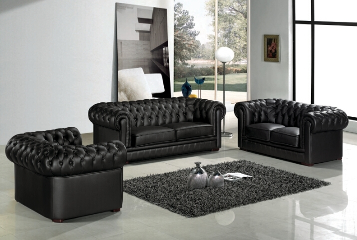Sofa Set Living Room Furniture With Genuine Leather Sofa Modern For Chesterfield Sofas And Chairs (Image 9 of 10)