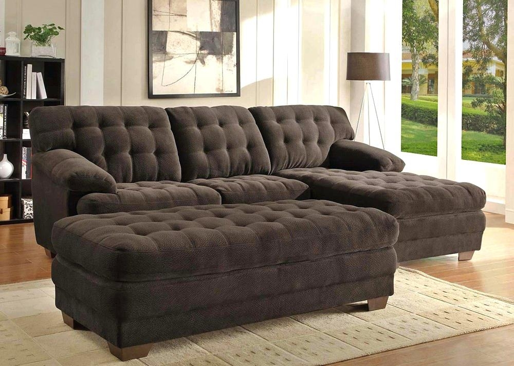 Sofa With Chaise And Ottoman Chocolate Microfiber Sectional Sofa Throughout Sectional Sofas With Chaise And Ottoman (View 8 of 10)