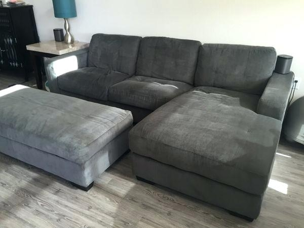 Sofa With Ottoman Incredible Gray Couch Sectional Chaise Lounge W In Sofas With Chaise And Ottoman (Image 9 of 10)