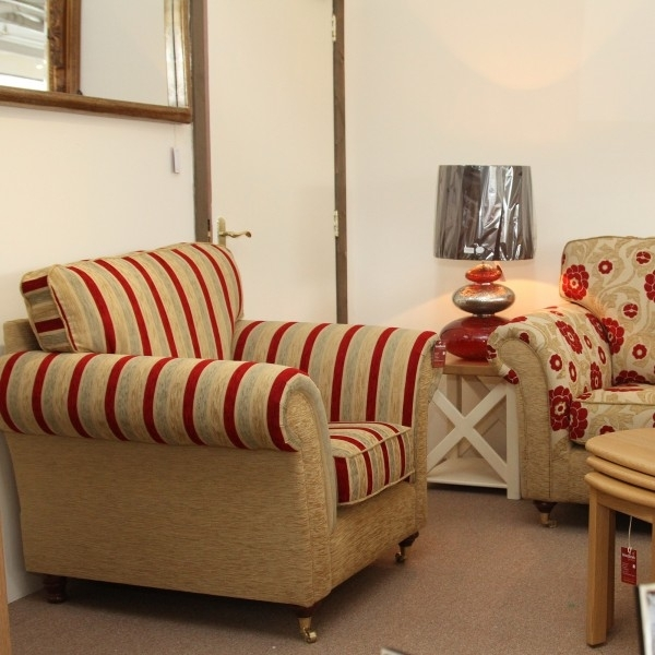 Sofas Ireland – Saoirse Sofa Set Stripe And Floral (3+1+1 Pertaining To Striped Sofas And Chairs (Image 5 of 10)