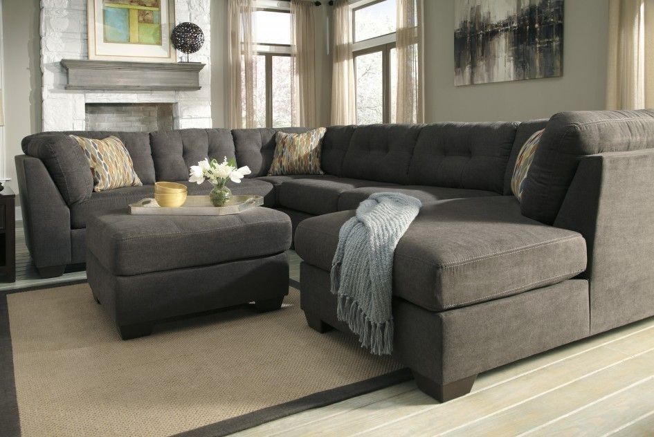 Sofas & Sectionals Contemporary Grey Sectional Sofa Chaise Tufted Within Cheap Sectionals With Ottoman (Image 10 of 10)