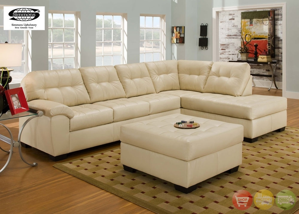 Soho Contemporary Ivory Bonded Leather Sectional Sofa W/chaise For Simmons Chaise Sofas (Image 9 of 10)