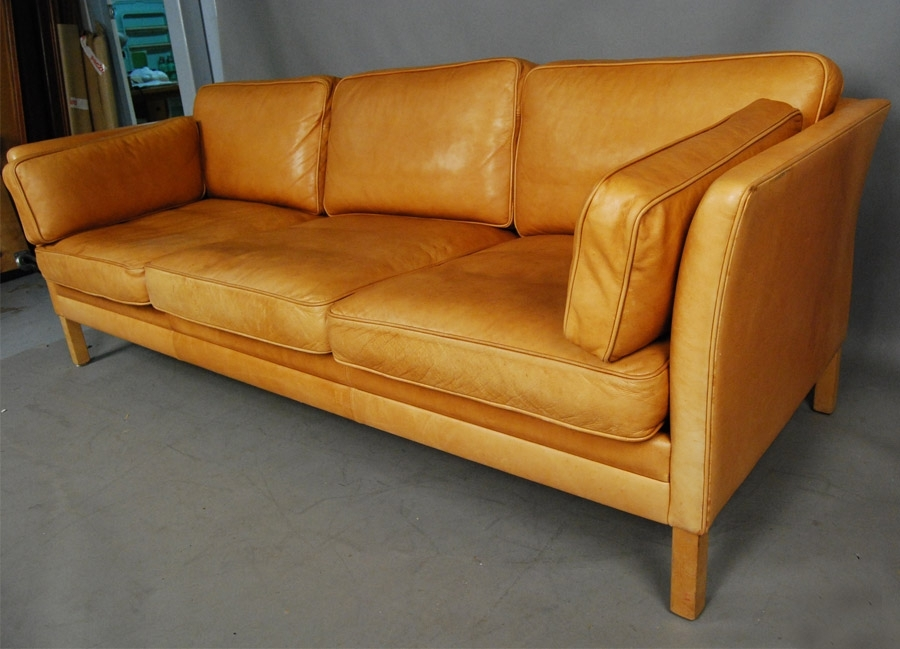 Sold Mogens Hansen Light Tan Leather Sofa 34D114 – Danish Vintage Modern Throughout Light Tan Leather Sofas (View 8 of 10)