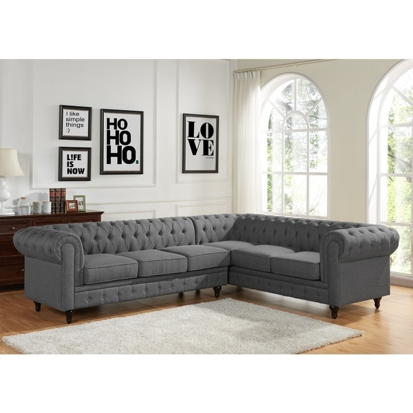 Sophia Modern Style Tufted Rolled Arm Left Facing Chaise Sectional Pertaining To Tufted Sectional Sofas With Chaise (View 7 of 10)