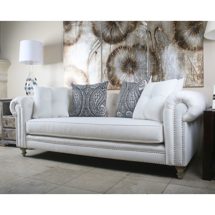 South Cone Home Hanover Tufted Linen Chesterfield Sofa & Reviews Within Tufted Linen Sofas (Image 9 of 10)
