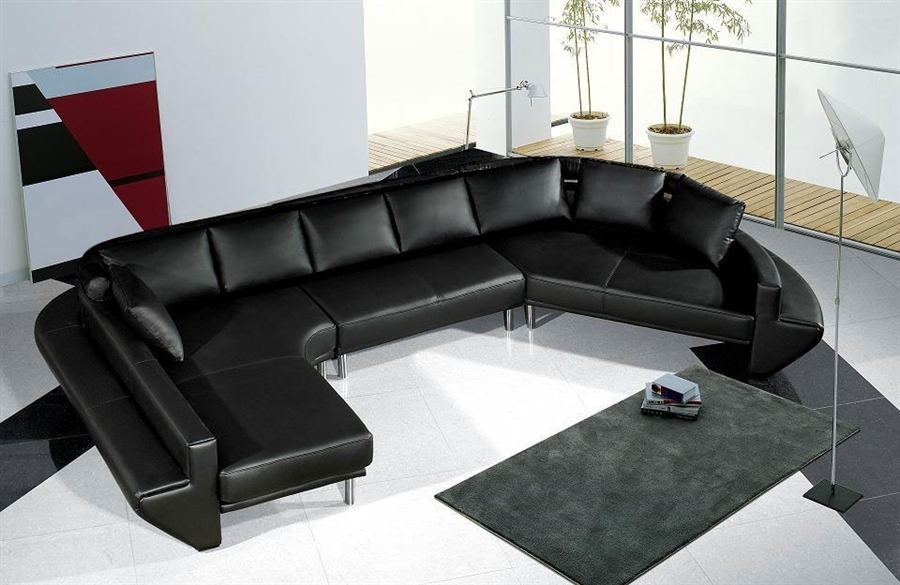 Spacious Modern Leather Sectional Sofa Set Tos Lf 2056 Bk At Sofas For Vt Sectional Sofas (Image 8 of 10)