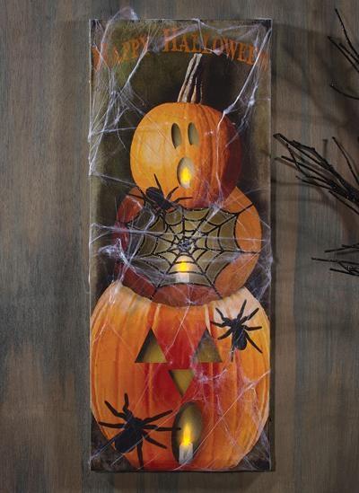 Spider Web Lighted Canvas Print   Shoptalksturbridge Yankee For Halloween Led Canvas Wall Art (Image 18 of 20)