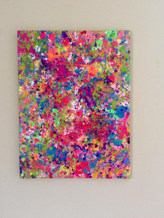 Splatter Neon Art Neon Painting Abstract Canvas Art Original In Abstract Neon Wall Art (Image 18 of 20)