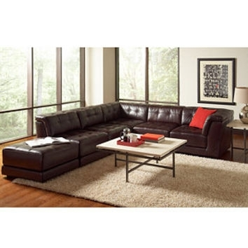 Stacey Leather 6 Piece Modular Sectional From Macys | Home With 6 Piece Leather Sectional Sofas (Image 9 of 10)