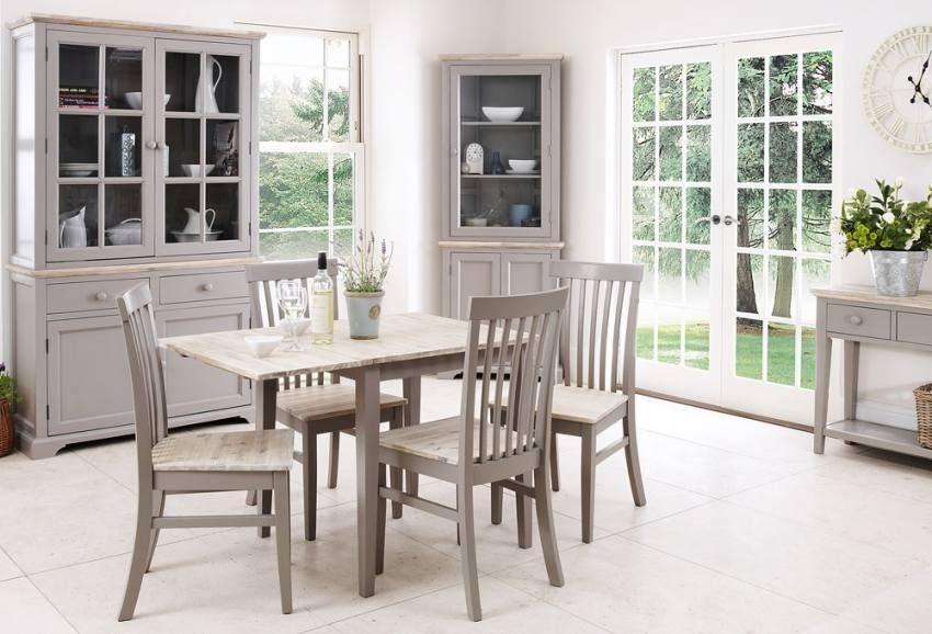 Statement Furniture – Florence Dove Grey Matt Painted & Washed In Sofa Chairs With Dining Table (Image 10 of 10)