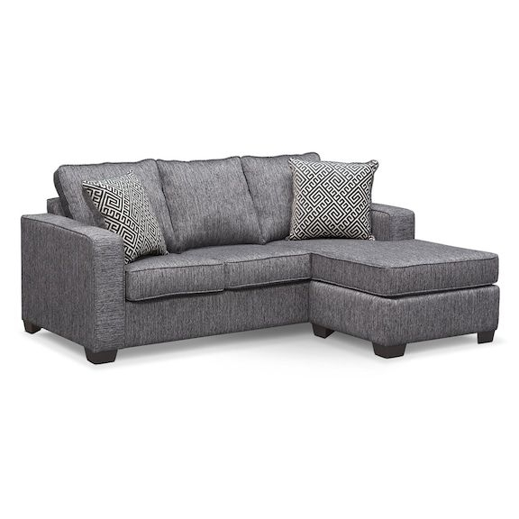 Sterling Innerspring Sleeper Sofa With Chaise – Charcoal | Value Regarding City Sofa Beds (Image 8 of 10)