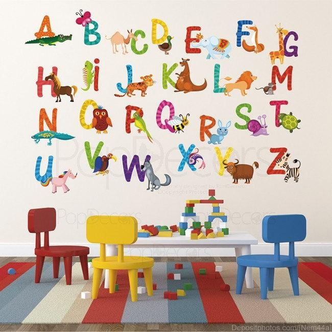 Stickers : Abstract Alphabet Wall Stickers Lowercase With Example Within John Lewis Abstract Wall Art (Image 15 of 20)
