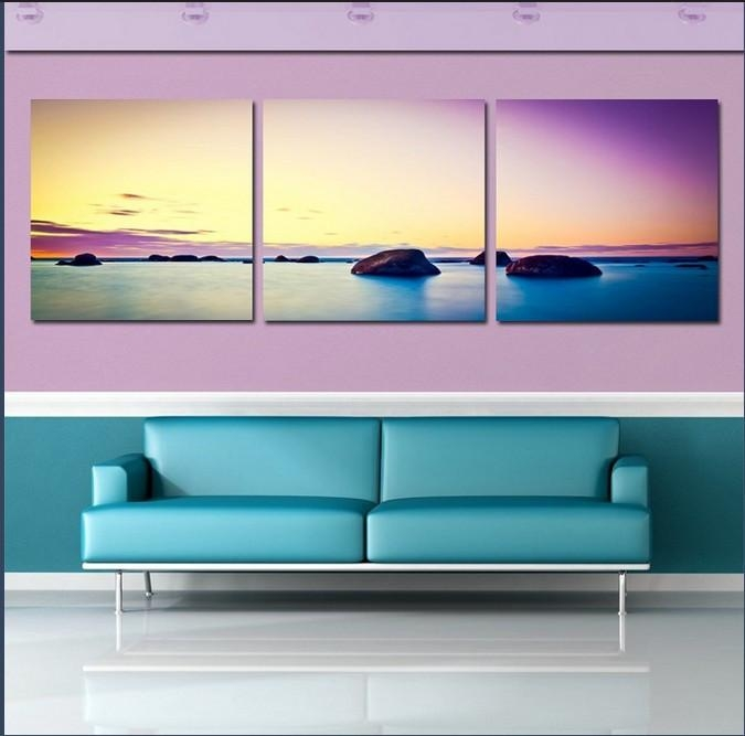 Stone Is Land Canvas Art Painting Modern Sunset Beach Decorative Throughout Ocean Canvas Wall Art (Image 18 of 20)