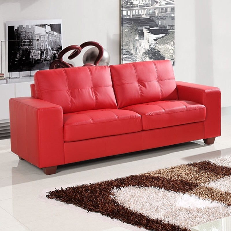 Strada Vibrant Red Leather Sofa Collection Pertaining To Red Leather Sofas (View 1 of 10)