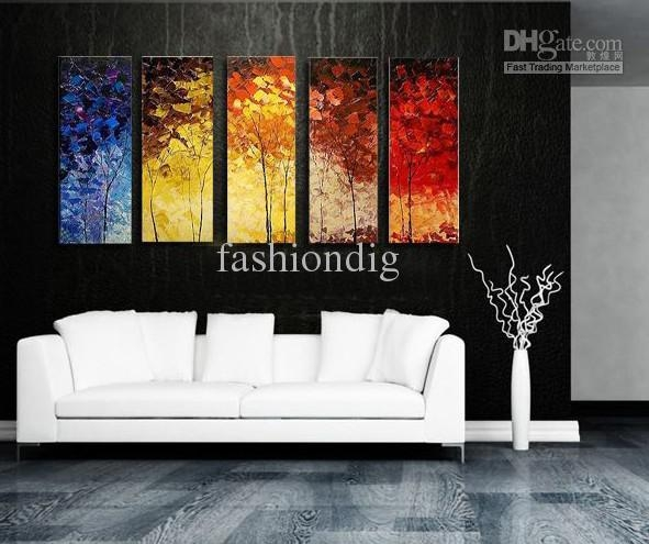 Stretched Abstract Landscape Knife Oil Painting Canvas Ready To Inside Modern Abstract Oil Painting Wall Art (View 2 of 20)