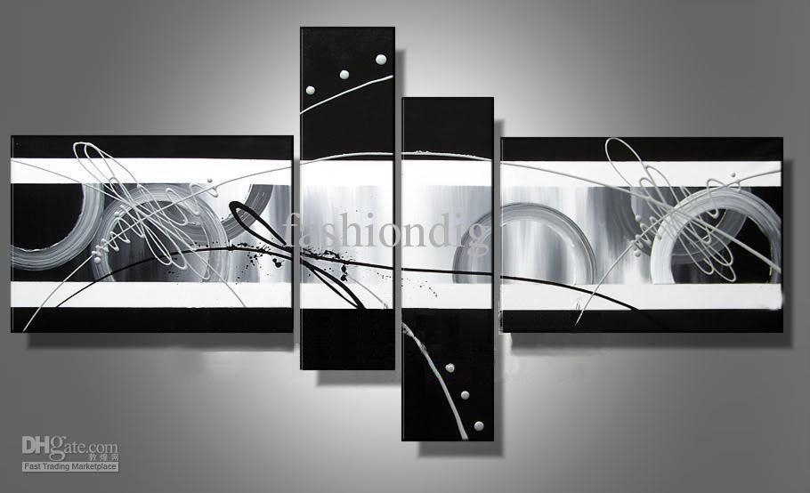 Stretched Abstract Oil Painting Canvas Black White Grey Artwork Throughout Black And White Canvas Wall Art (Image 13 of 20)