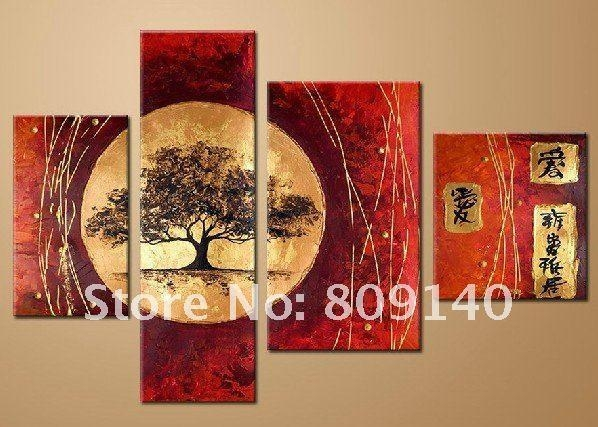 Stretched Japanese Landscape Oil Painting Canvas Artwork Hand With Regard To Japanese Canvas Wall Art (Image 18 of 20)