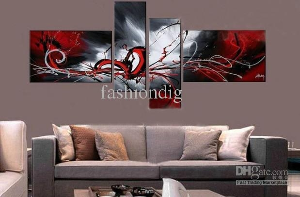 Stretched Red Grey Contemporary Abstract Oil Painting On Canvas For Grey Canvas Wall Art (View 17 of 20)