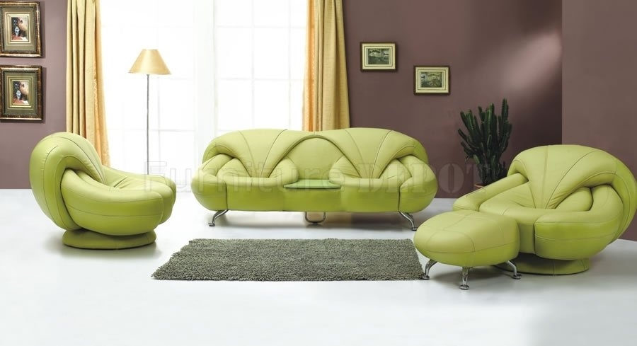 Stylish Green Leather Sectional Sofa Modern Green Leather Sofa And For Green Sofa Chairs (Image 9 of 10)