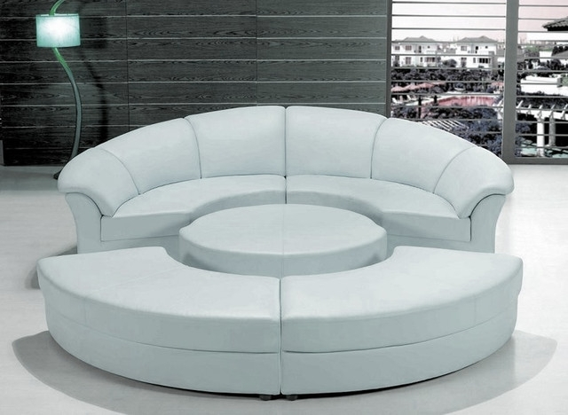 Stylish White Leather Circular Sectional Sofa – Modern – Living Room With Regard To Circular Sectional Sofas (Image 8 of 10)