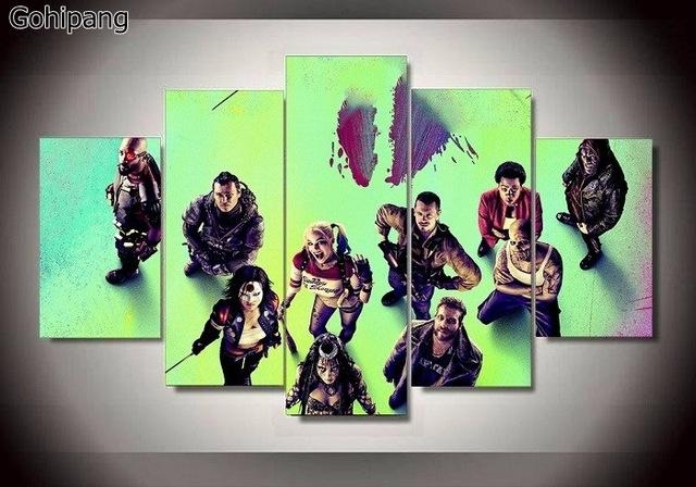 Suicide Squad Joker Canvas Prints 5 Pieces Painting Wall Art Home In Joker Canvas Wall Art (View 13 of 20)
