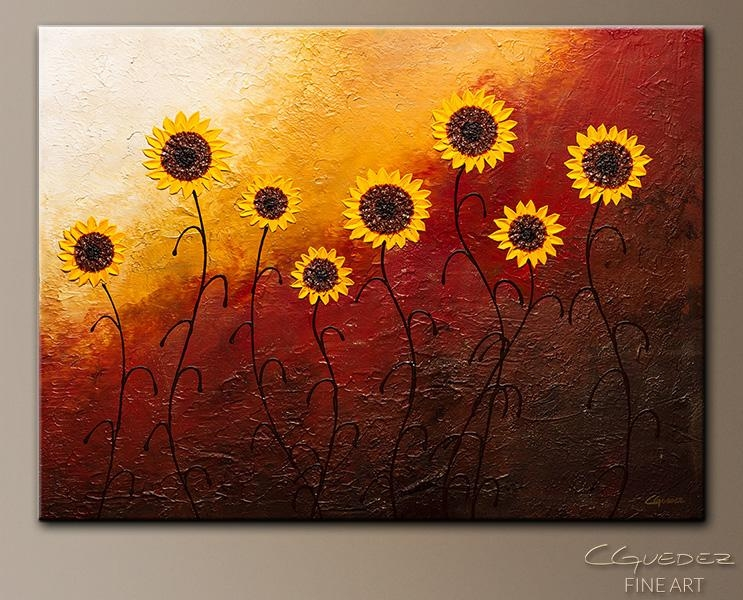 Sunflower Garden Abstract Wall Art|Modern Hand Made Abstract Art Intended For Abstract Garden Wall Art (Image 17 of 20)