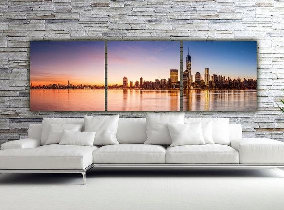 Sunset On New York City Canvas Art Large Canvas Wall Art New With Canvas Wall Art Of New York City (View 17 of 20)