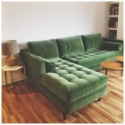 Sven Grass Green Left Sectional Sofa – Sectionals – Article | Modern Intended For Green Sectional Sofas (Image 10 of 10)