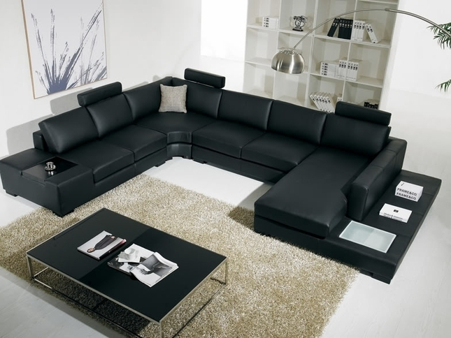 T 35 Large U Shaped Modern Leather Sectional Sofa With Lights For U Shaped Sectional Sofas (Image 7 of 10)