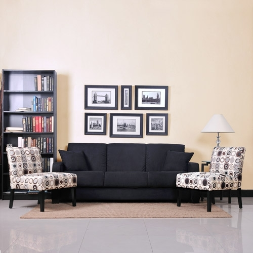 Tahoe Black Convert A Couch Sofa Sleeper And Set Of 2 Accent Chairs Pertaining To Sofa And Accent Chair Sets (Image 9 of 10)