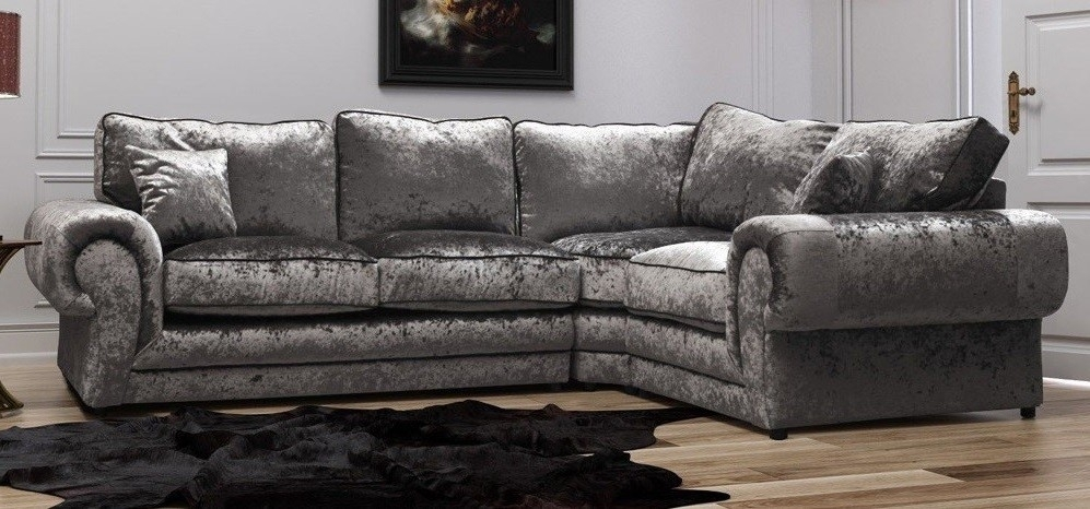 Tango Corner Rhf Silver Crushed Velvet – Fabric Sofas – Sofas With Fabric Sofas (Image 10 of 10)