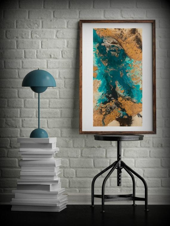 Teal And Copper Abstract Art Large Abstract Print Neutral Throughout Neutral Abstract Wall Art (Image 18 of 20)